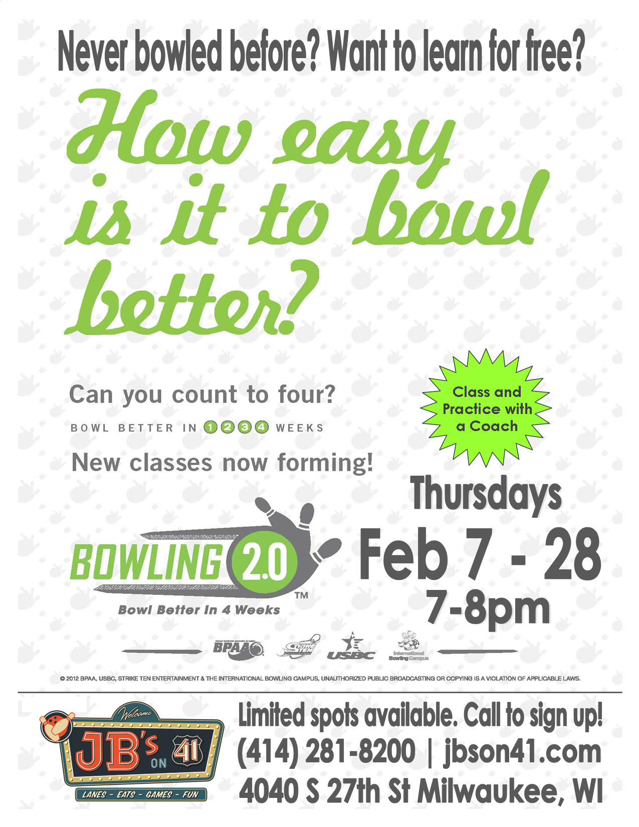 free bowling lessons | free bowling classes | milwaukee bowling classes | learn to bowl before league bowling | jb's on 41 milwaukee bowling lessons | adult bowling classes | teen bowling classes | learn a sport | bowling 2.0 | 4-week bowling class | free from jb's on 41 | february 2019 | bowling classes