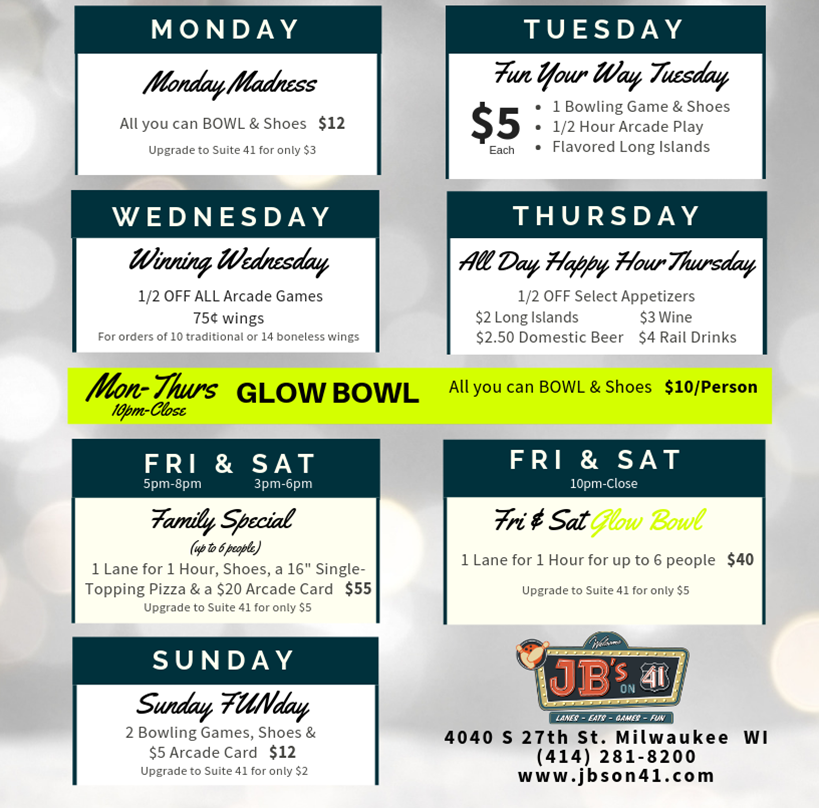 weekly to do list | daily deals | bowling deals | arcade deals | open play deals | wing deals | winter 2019 | discounted bowling | daily deals | daily bowling offers | jb's on 41 | winter 2019