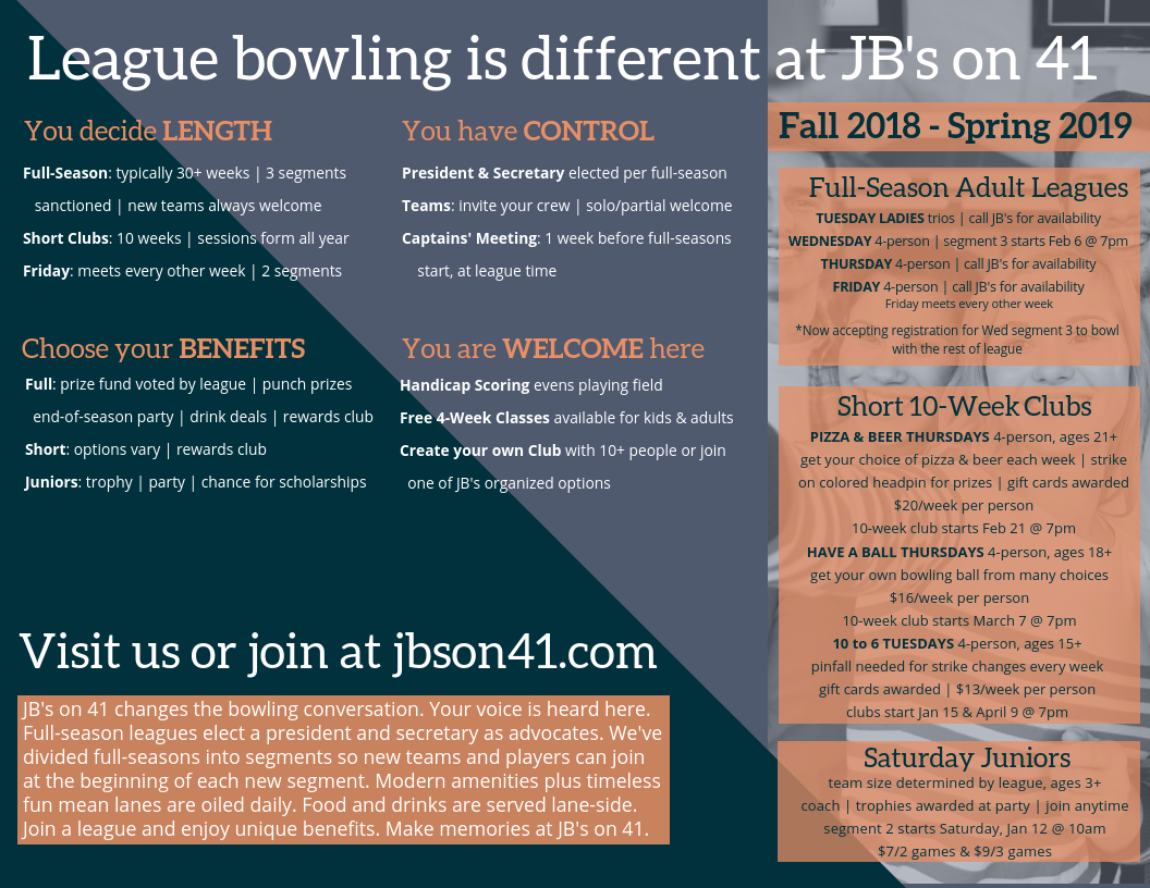 traditional league bowling | full-season league bowling | casual bowling leagues | competitive bowling leagues | milwaukee bowling leagues | adult bowling leagues | kids bowling leagues | youth bowling leagues | league bowling for beginners | bowling leagues for beginners | league bowling for advanced | league bowling for competitive players | league bowling for social players | league bowling for casual players | bowling classes | learn to bowl | free bowling classes | bowling lessons | bowling tournaments | things to do in milwaukee | bowling in milwaukee | jb's on 41 bowling leagues | jb's bowling leagues | bardon bowling centers | winter bowling leagues | spring bowling leagues | fall bowling leagues | bowling clubs | social bowling