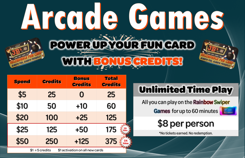Arcade Credits Bonus | Unlimited Arcade | JBs on 41 | Milwaukee
