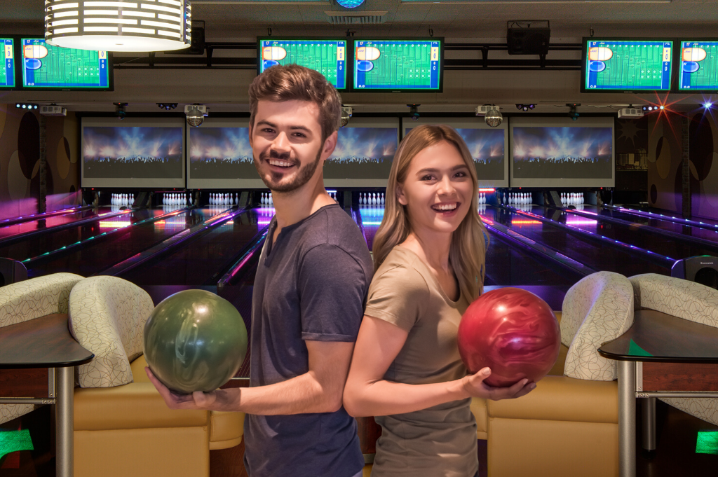 holidays | couple bowling in luxury bowling suite 41 | jb's on 41 | milwaukee, wi
