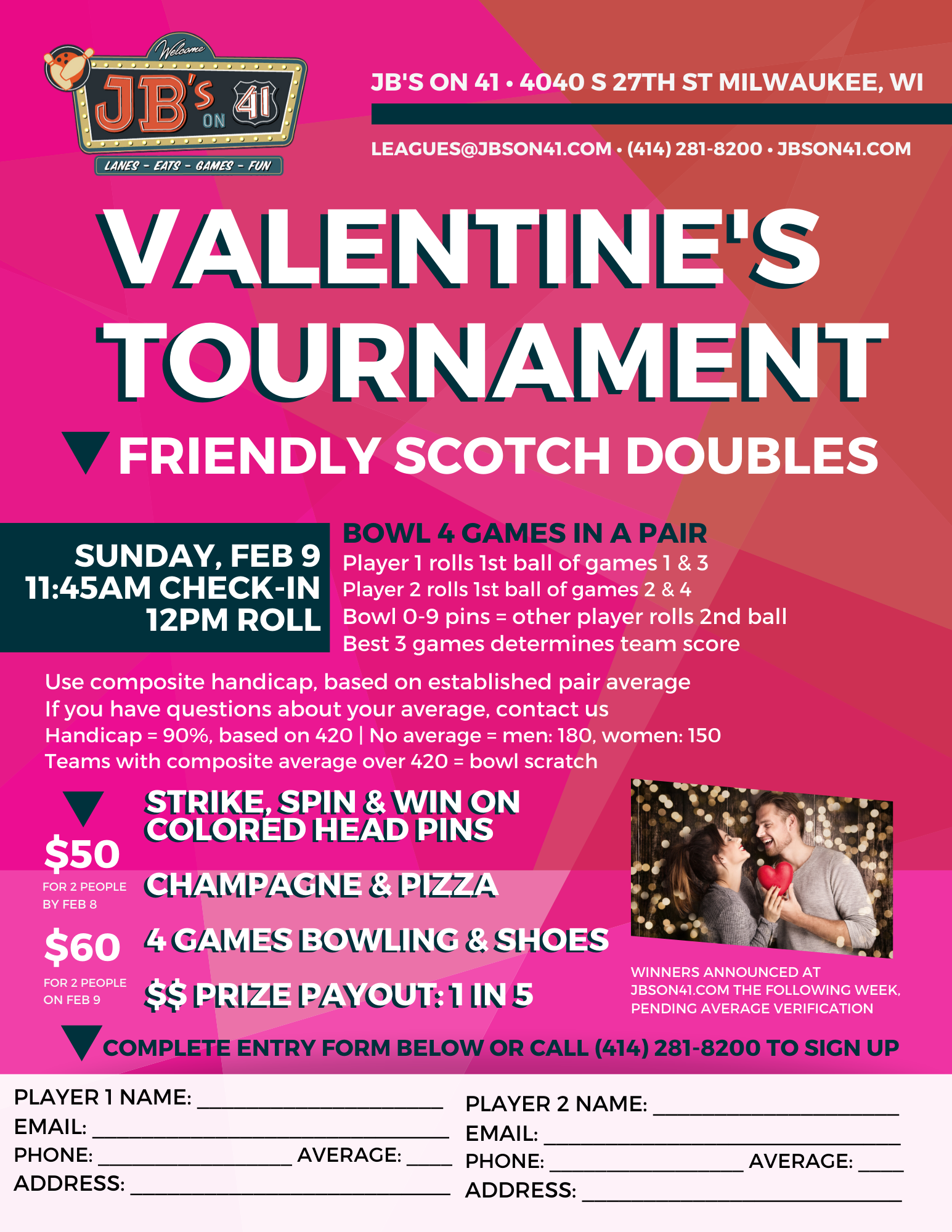 valentine's tournament | pink bowling tournament flyer | couples tournament | alternative valentine's day activities | february 9, 2020 | jb's on 41 | milwaukee, wi