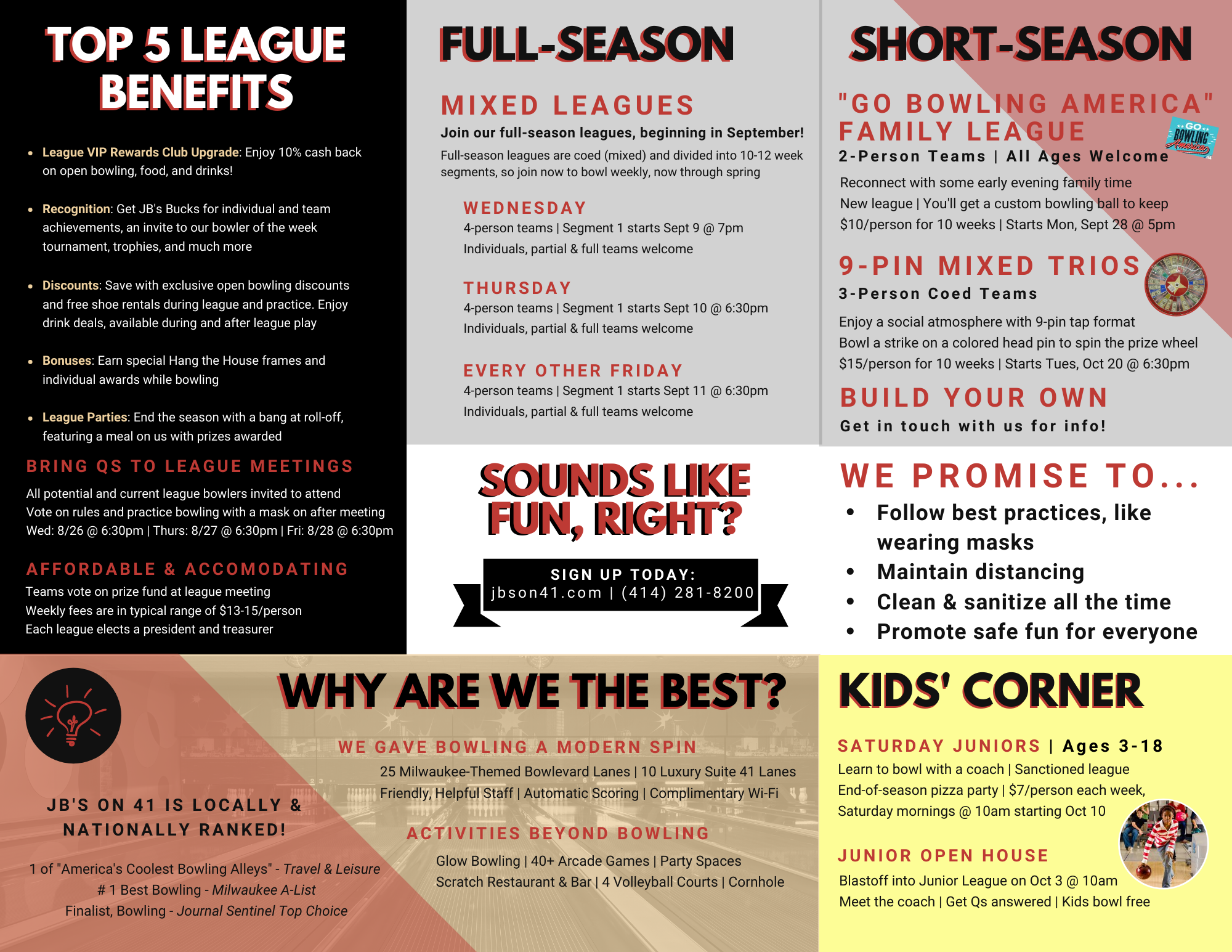 2020-2021 bowling leagues | adult leagues | youth leagues | jb's on 41 bowling leagues | milwaukee bowling leagues