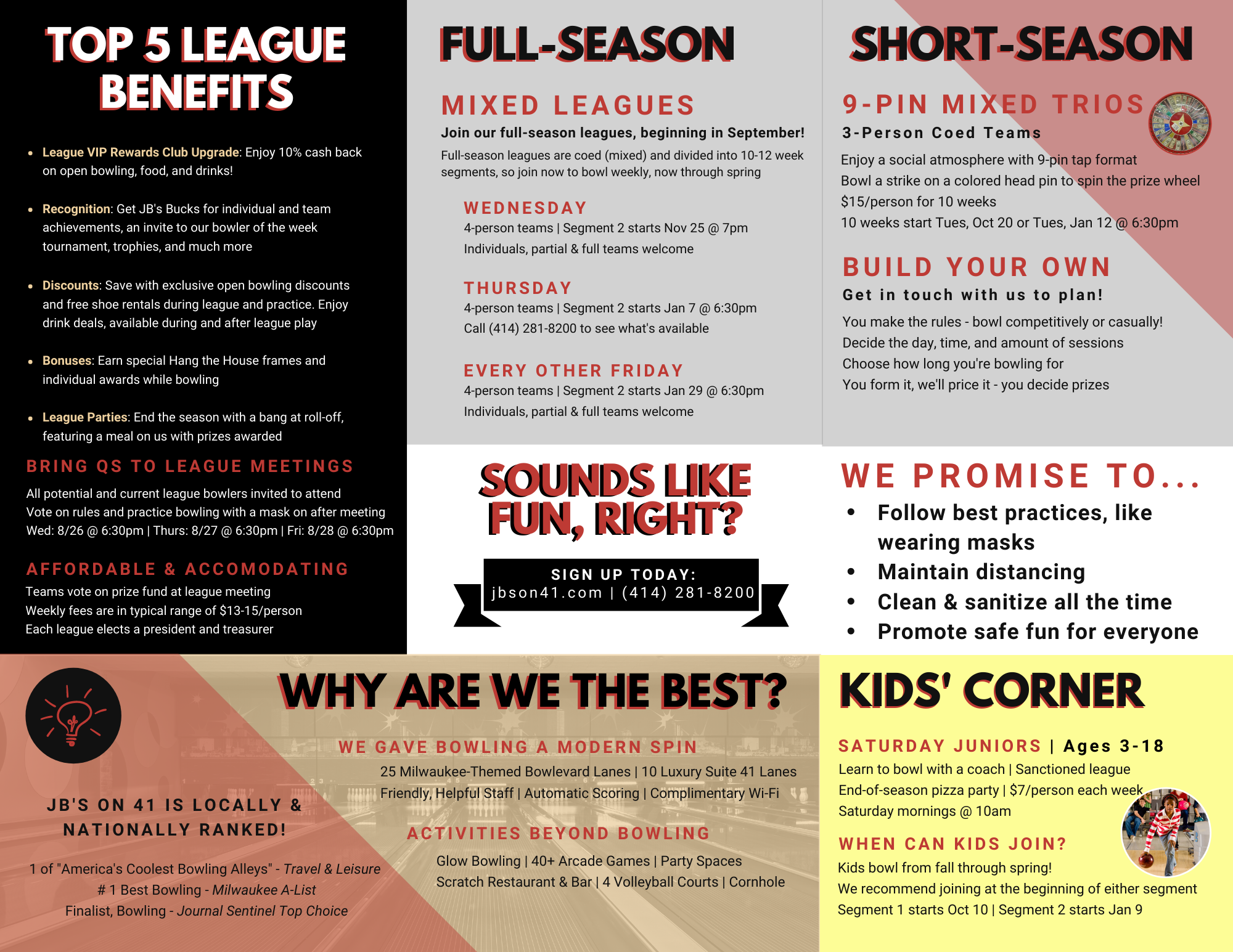 JB's on 41 bowling leagues - October 2020 version | fall 20 - spring 21 | adult leagues | youth leagues | social bowling leagues | competitive bowling leagues | JB's on 41 | Milwaukee, WI