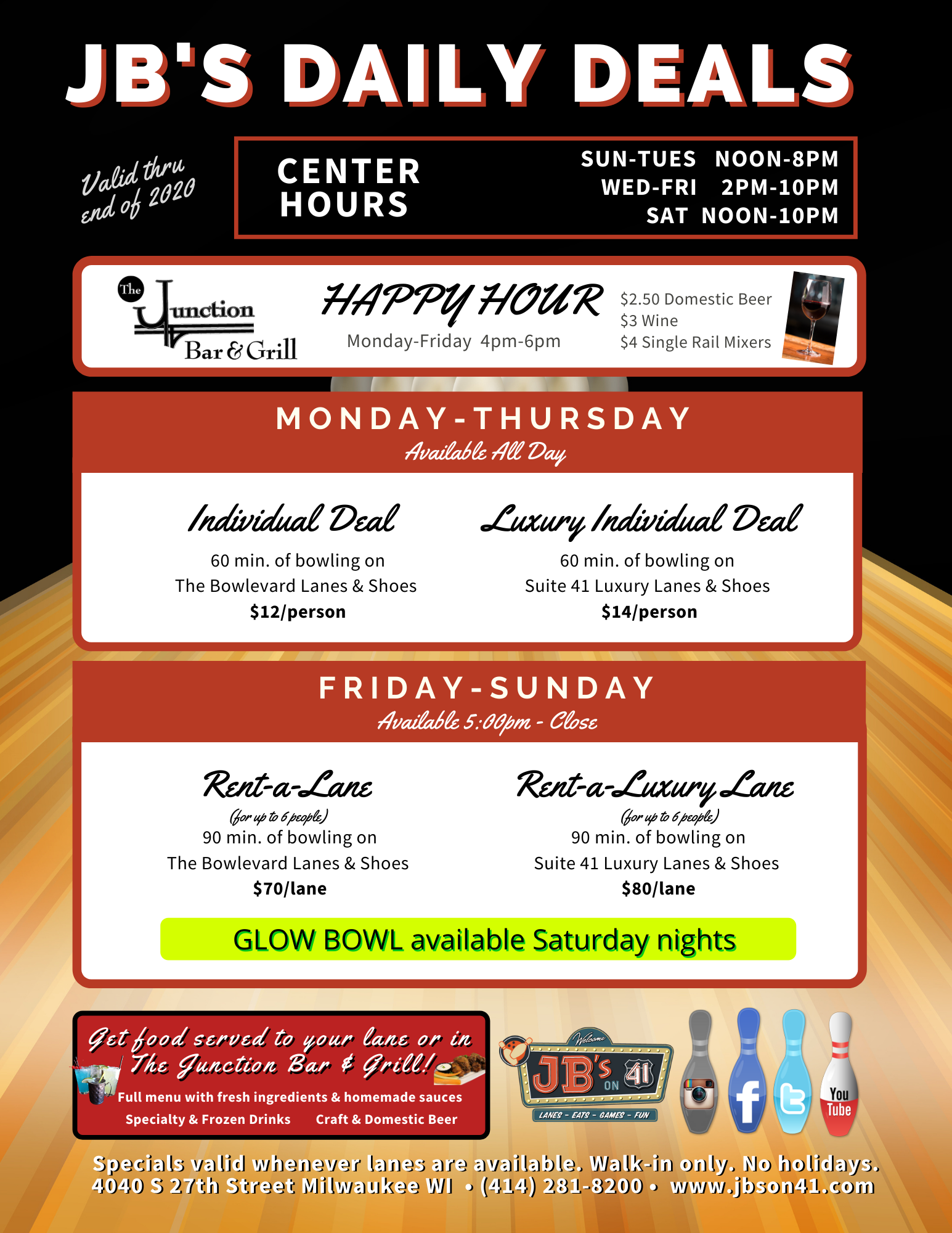 daily deals at jb's on 41 | november 2020 | open bowling deals and specials | walk-in for affordable family fun | JB's on 41 | Milwaukee, WI