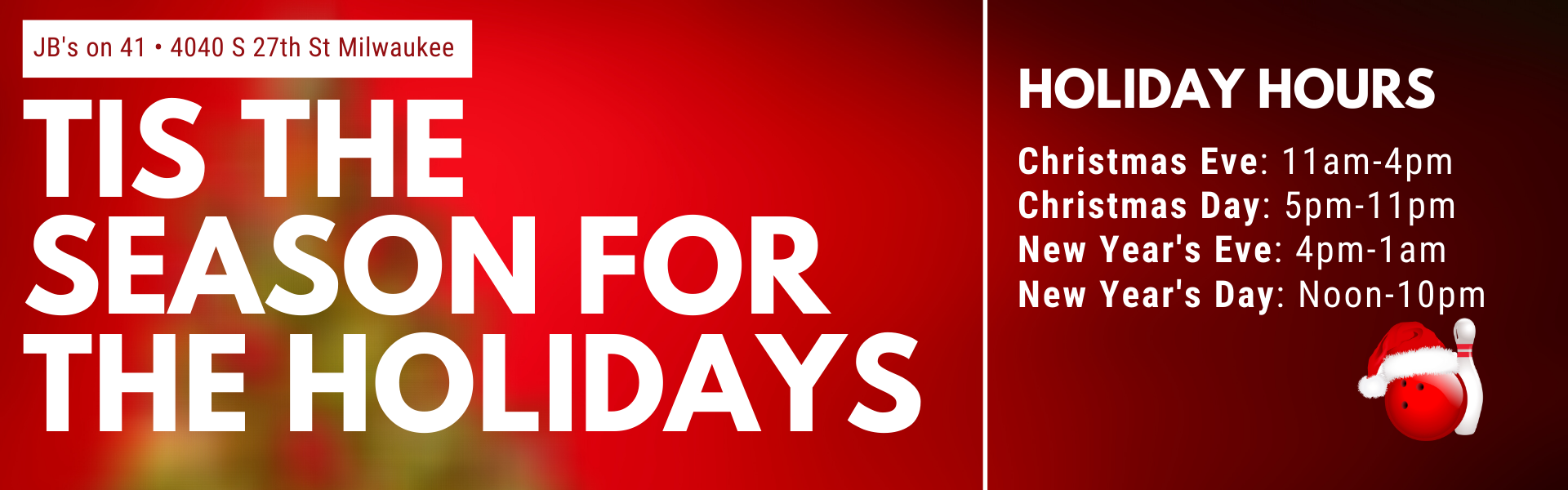 JB's on 41 is open over the holidays | holiday hours 2020 | Milwaukee, WI