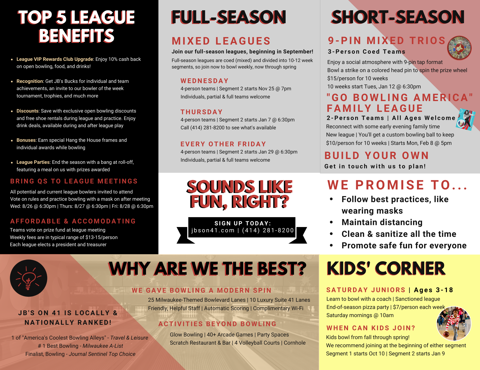 adult leagues   youth leagues   bowling leagues   leagues for all ages   Milwaukee, WI   JB's on 41