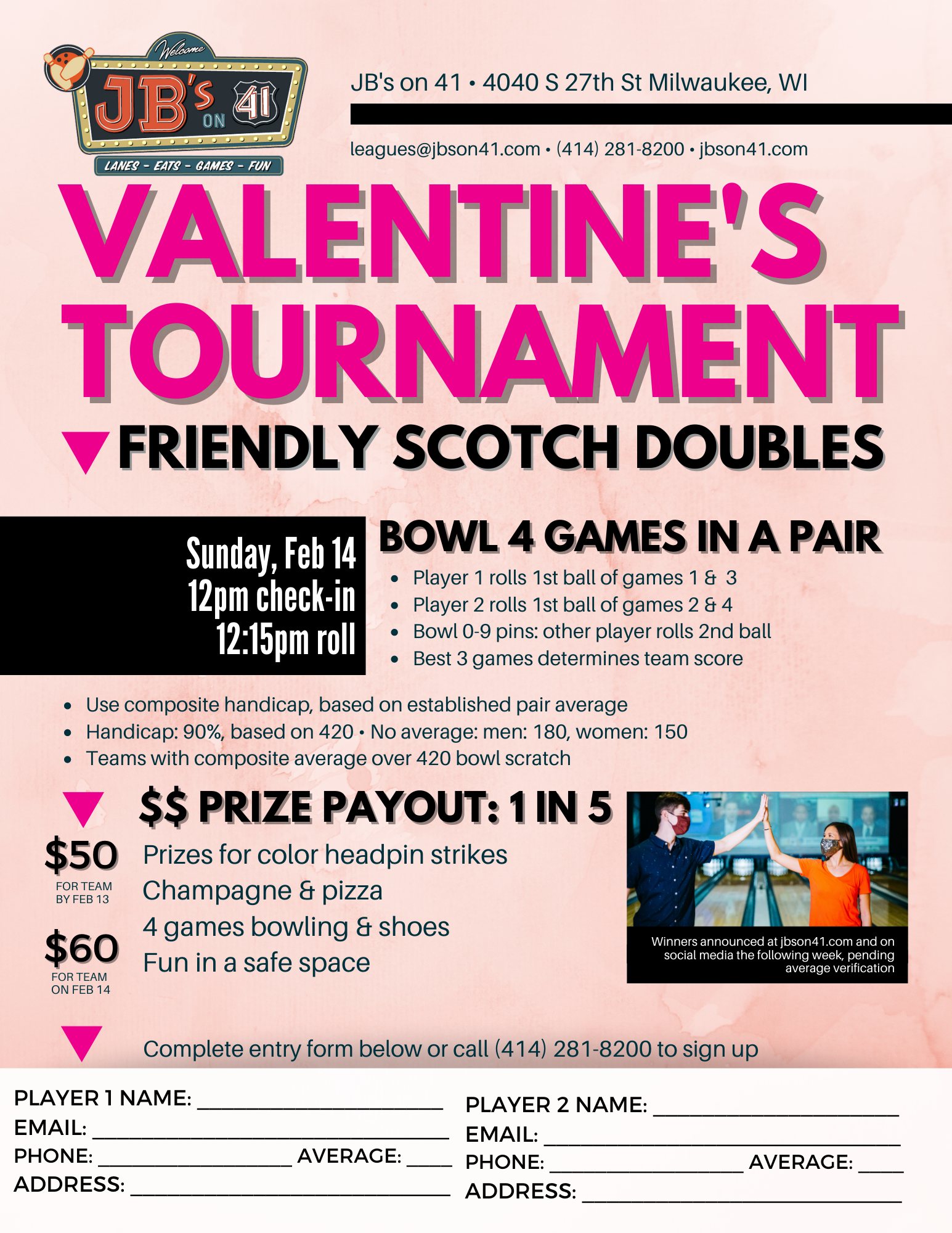 valentine's day bowling tournament | fun couples ideas for holidays | bowling tournaments | valentine's day 2021 | JB's on 41