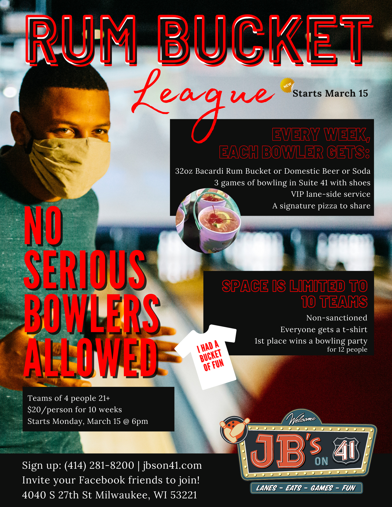 no serious bowlers allowed club | rum bucket league | social adult leagues | bowling leagues | JB's on 41 | Milwaukee, WI