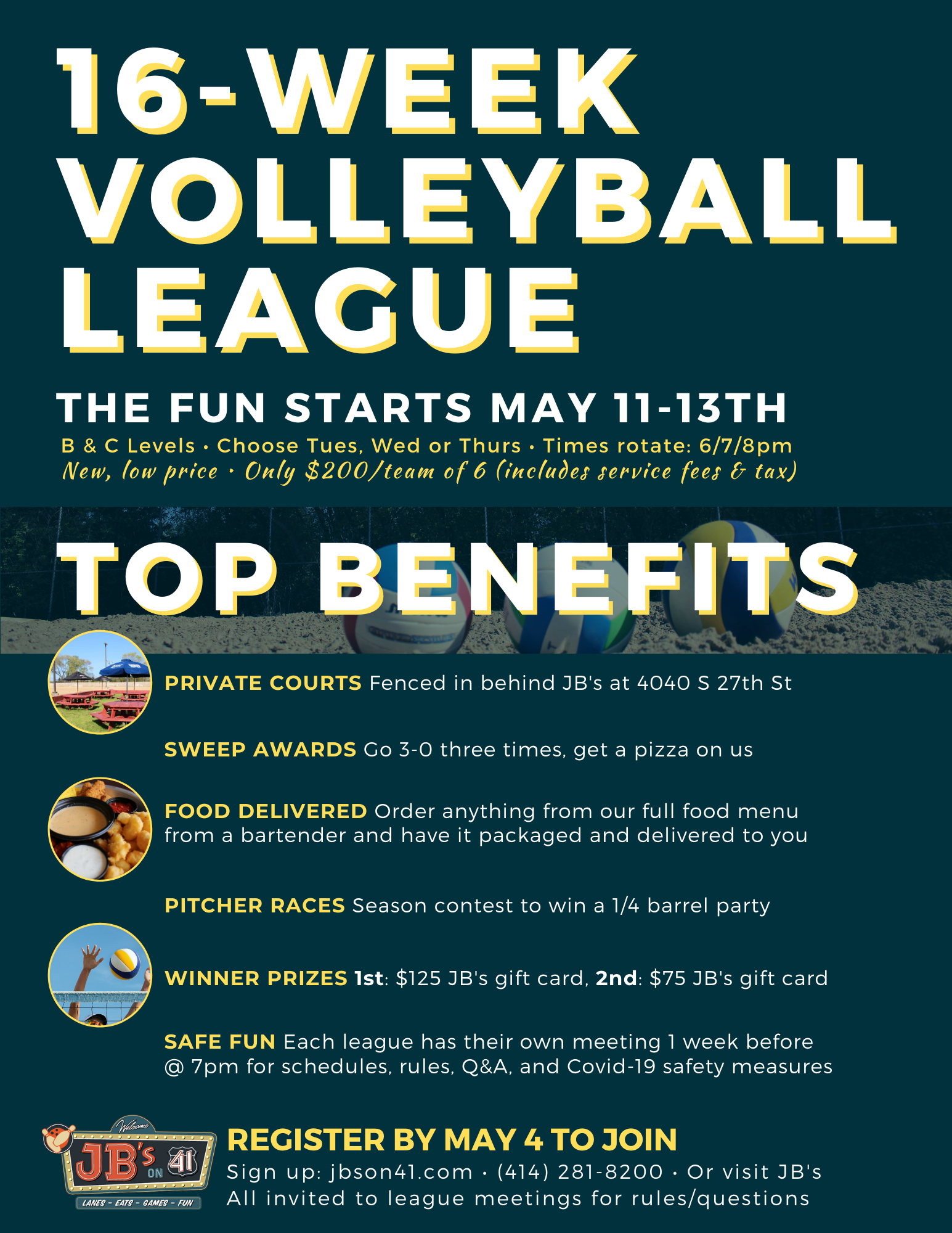 volleyball leagues | full-season volleyball leagues | casual volleyball leagues | competitive volleyball leagues | JB's on 41 | Milwaukee, Wi