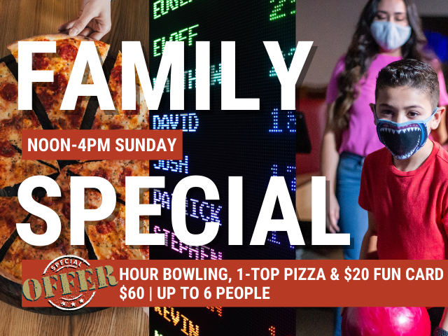 family special at JB's on 41   limited time only offer   pizza and bowling special   arcade and pizza special   spring 2021