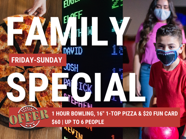 family special at JB's on 41 | weekend bundled offer | pizza and bowling special | arcade and pizza special | summer 2021